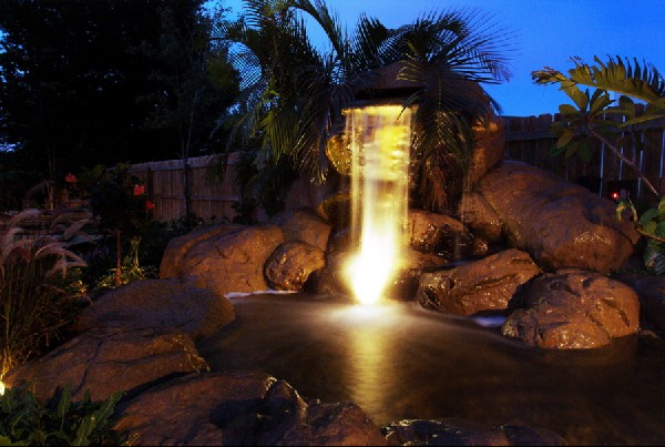 Night shot of synthetic rock waterfall