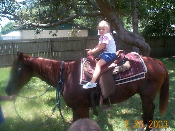 my little sister on my horse